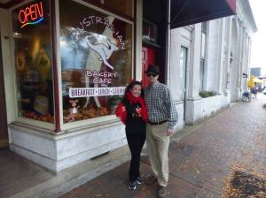 Cecilie dressed as a Devil's Food Tour Guide and Brian as Walter White. Photo courtesy Marietta Food Tours.
