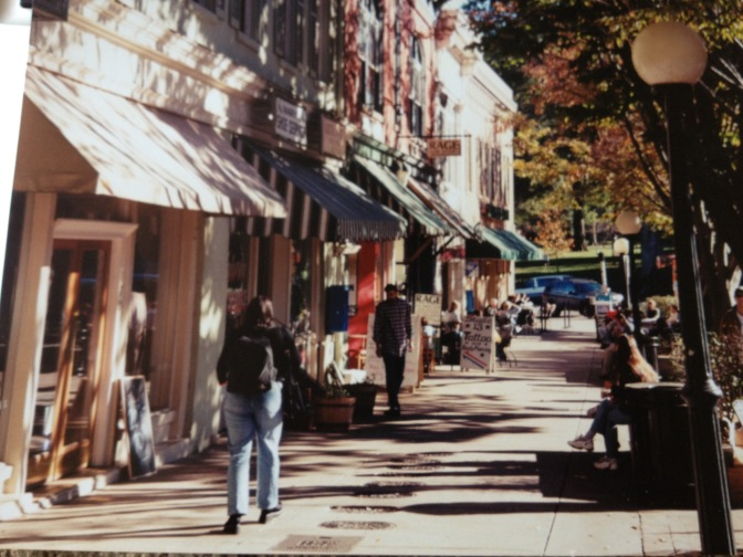 College Avenue circa 2001. Blue Sky Coffee and Rage Salon were still alive and well.